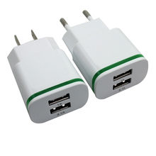 2 Ports USB Wall Charger 5V 2.1A LED Light Adapter US/EU Plug