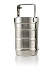 stainless steel pyramid modern tiffin box 3 tier with clip medium and large