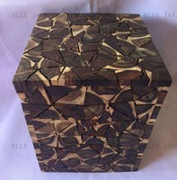 Square Stool Teak Root Black Natural 45x30cm