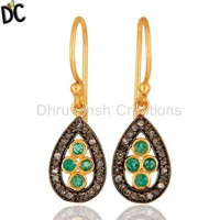 Wholesale Gold Plated Silver Emerald Gemstone Earrings Manufacturers Pave Diamond Earrings Handmade Diamond Jewelry Suppliers