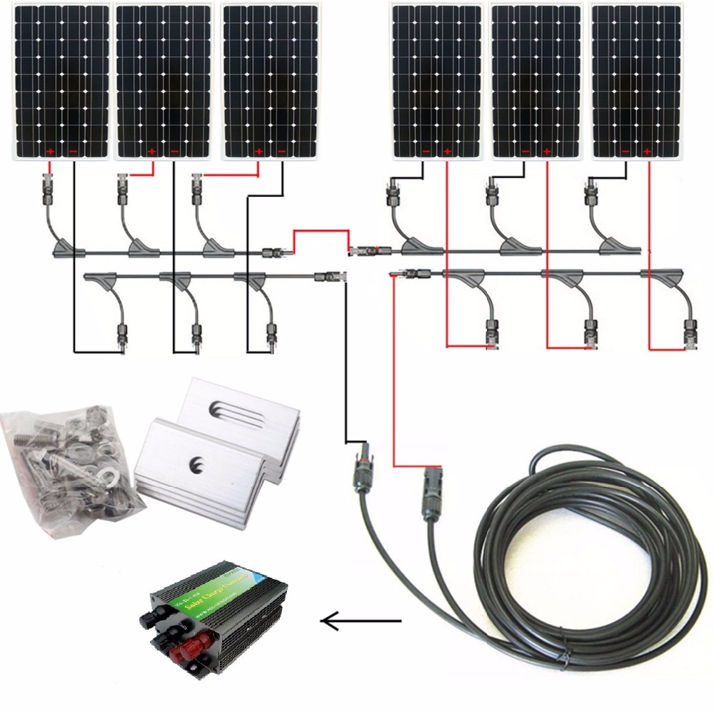 1000W 1kw Monocrystalline 24v Off Grid Solar Panel Kit: 6pcs 160W