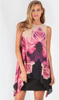 SLEEVELESS, SHIFT STYLE DRESS WITH PRINTED CHIFFON ASYMMETRICAL OVERLAY