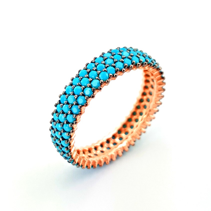 Fashionable Turkish Wholesale 3 Rows Cz Stone Rose Gold Plated Pave Band Jewelry 925 Sterling Silver Ring