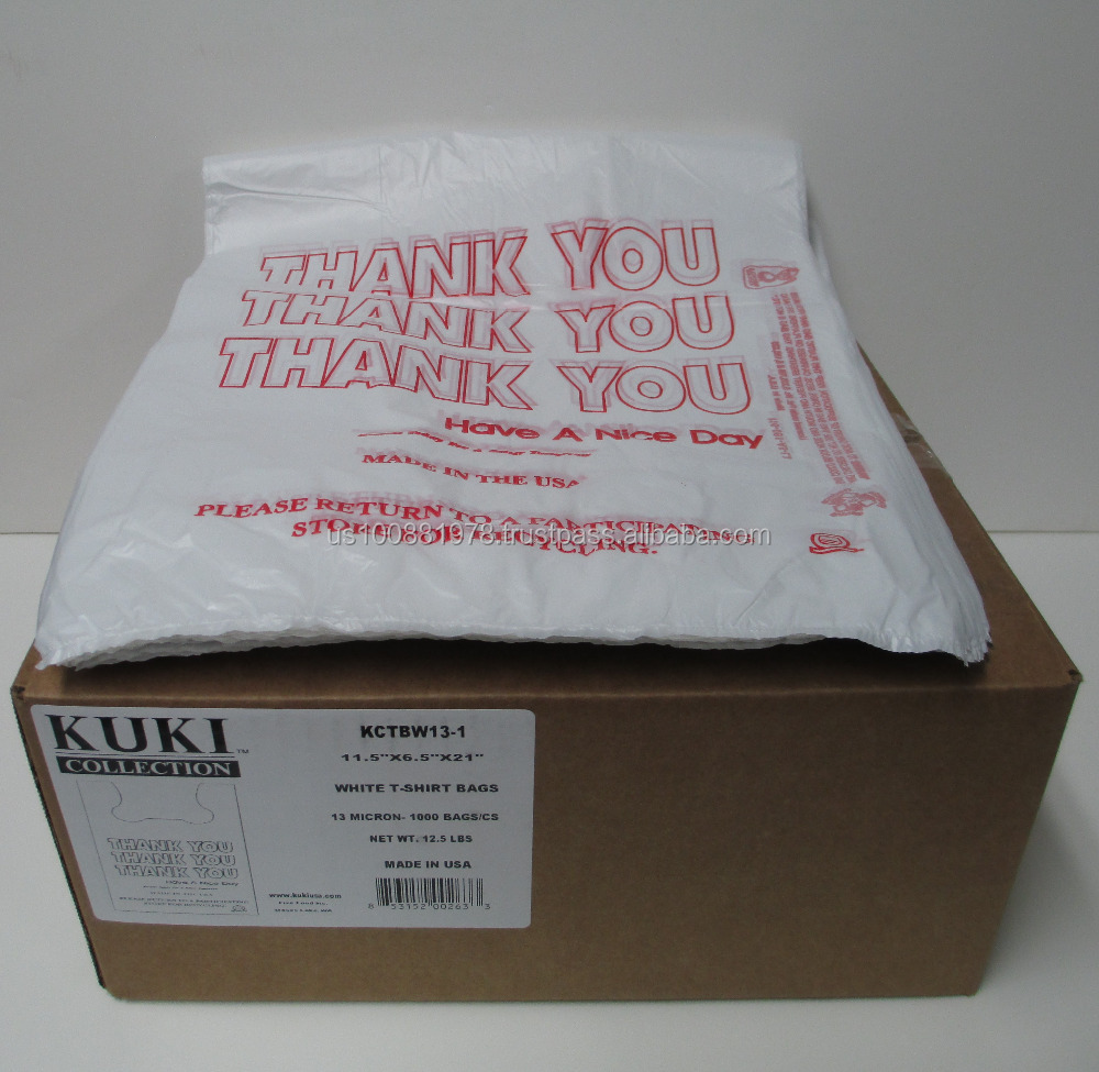 Kuki Collection T-Shirt Bags - Made in the USA - 13 Micron White 11.5 x 6.5 x 21 1000pc/case