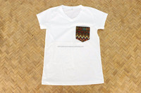 White Hmong Patchwork Unique T-Shirt Fairtrade Thailand - Size S