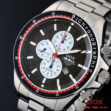 Man Sport Chronograph Analog Quartz Wrist Water Resistant Stainless Steel Japan Movement DOX Brand Watch Korea Made