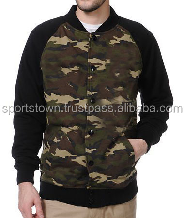 MENS CAMO WOOL VARSITY JACKET WITH LAMBS LEATHER SLEEVES WHOLESALE HIGH QUALITY CAMOUFLAGE VARSITY JACKETS