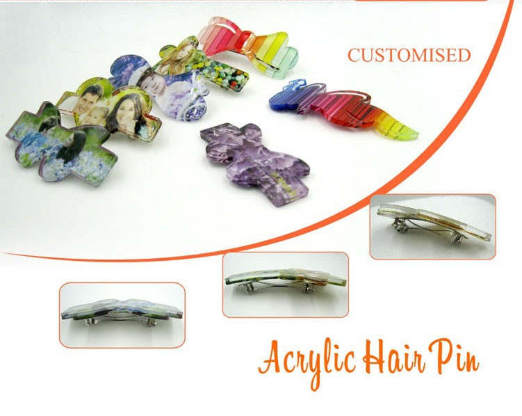 Fashionable Acrylic Hair Pin for Subimation