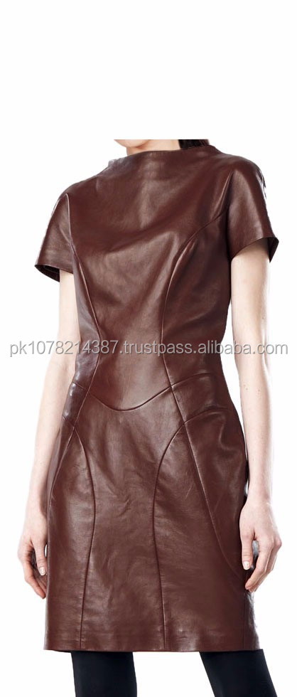 2015 FASHION STYLISH GOTHIC BUTTERY-SOFT PRETTY WOMEN LEATHER DRESS