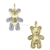 .925 Sterling Silver Gold Platted Charm Pendant Pave Diamond Teddy Bear Charm Pendant Diamond Jewelry Manufacturer