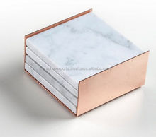 Square Marble Set of 4 pieces Coaster Set With Pure Copper Box