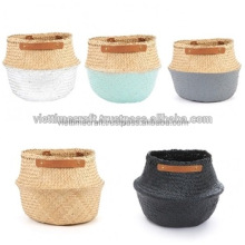 Seagrass Basket With Leather Handle/ Foldable Basket