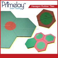 Attractively Designed Hexagon Rubber Tiles For Children Playground