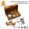 Wooden Toys Heart Tangram Puzzle Pieces with Cards
