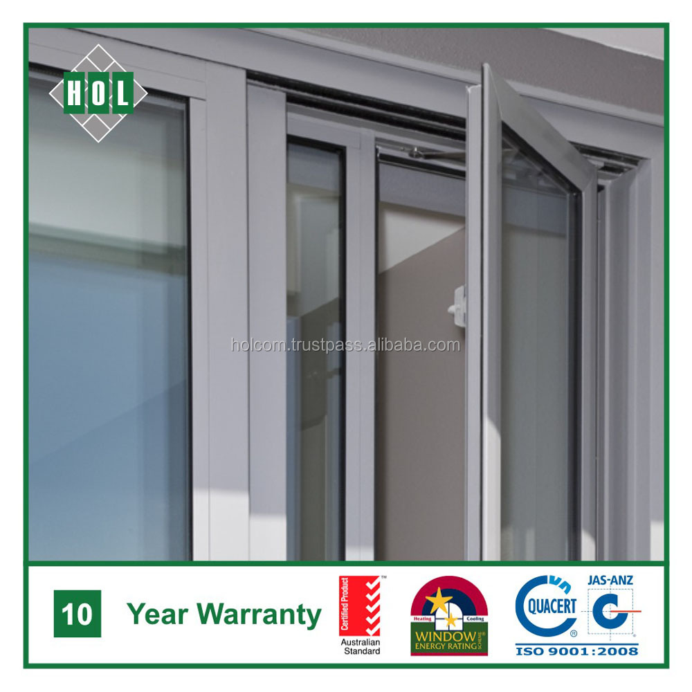 High quality aluminum casement window, clear temper glass