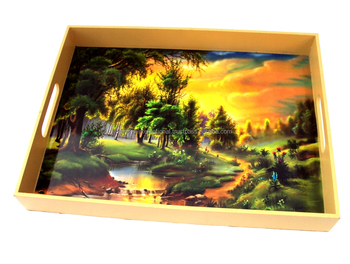 WHOLESALE NICELY DECORATED WOODEN USEFUL SERVING TRAY