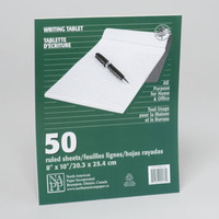 WRITING RULED TABLETS 50 SHEETS 8 X 10 #2800181