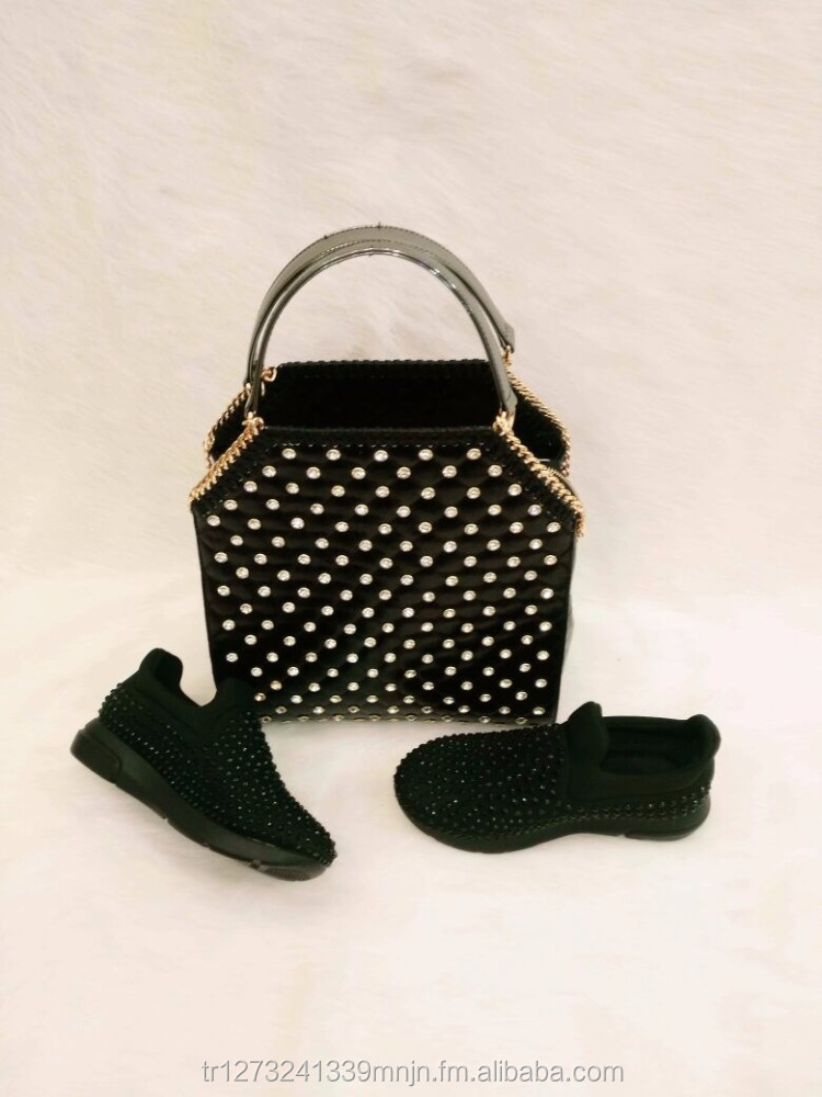 wholesale quality women bag and shoe set with shiny stone