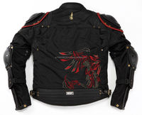 Fashionable rider's jacket with unique design inspired by Samurai armour