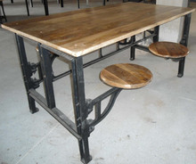Cast Iron Dining Table with adjustable attach seat