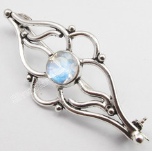 925 Sterling Silver ROUND RAINBOW MOONSTONE HANDWORK BROACH BROOCH 5.1CM ARTISAN
