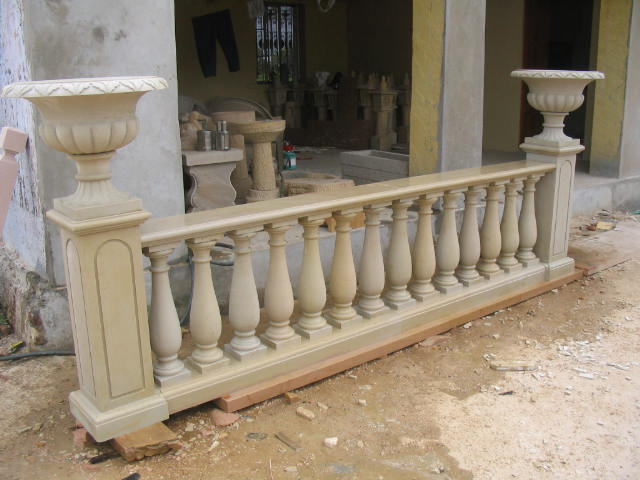 Black Marble Antique Carved Balustrade