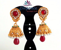 BOLLYWOOD FASHION PEARL BEADED IMITATION JHUMKA EARRINGS-ONE GRAM GOLD JHUMKA EARRING-SOUTH INDIAN ETHNIC BIG JHUMKA EARRINGS