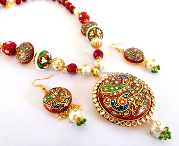 2015 INDIAN FUSION ART PEACOCK PAINTED BEADED NECKLACE SET - WHOLESALE TANJORE ART JEWELRY - PEARL BEADED TANJORE NECKLACE SET