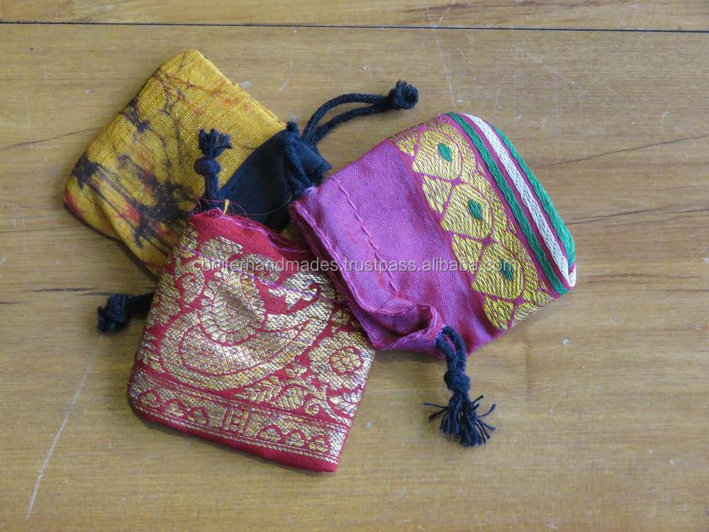 brocade fabric border small mini drawstring bags for jewellery packaging, gift packaging