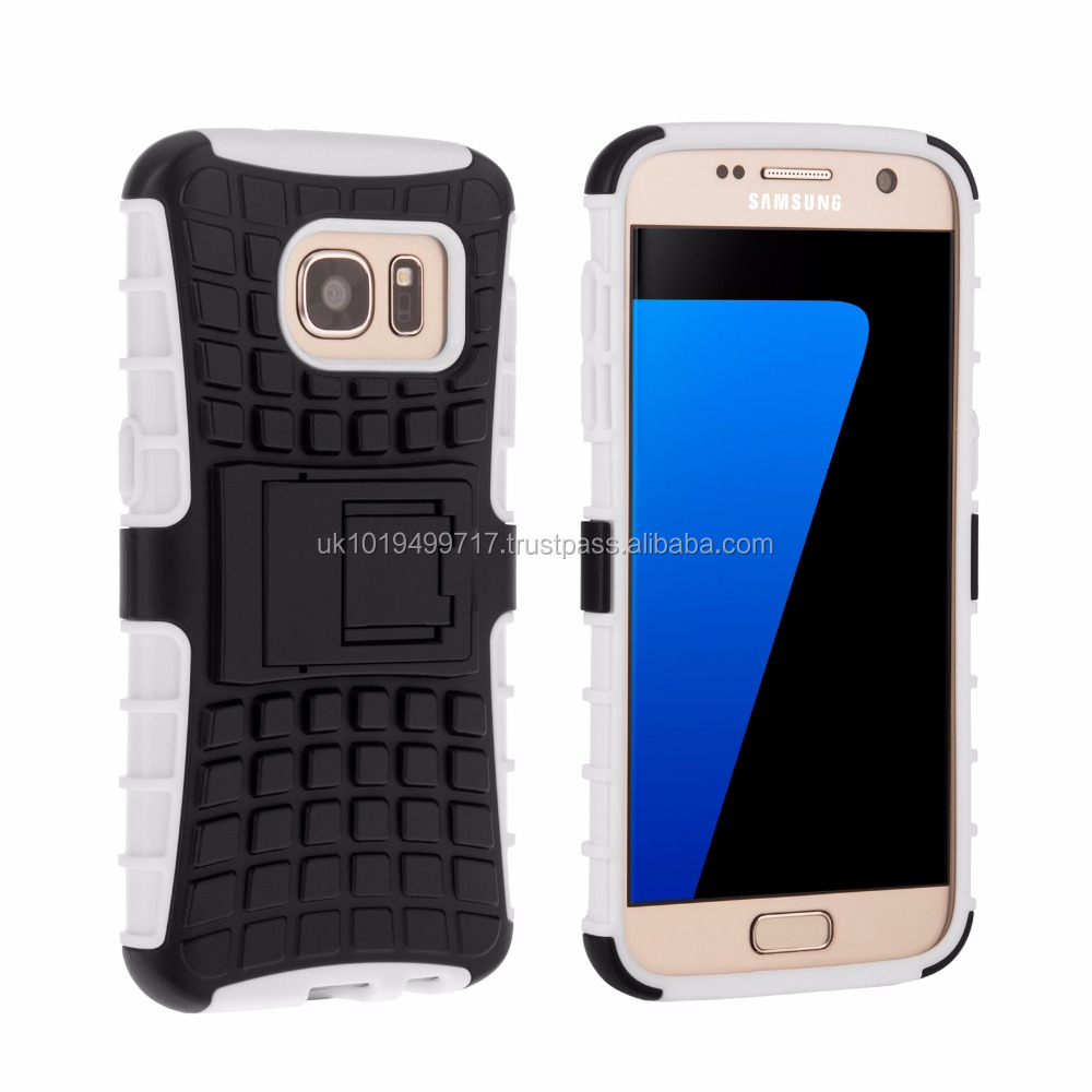 Tough Stand Hard Case for Samsung Galaxy S7 White and Black