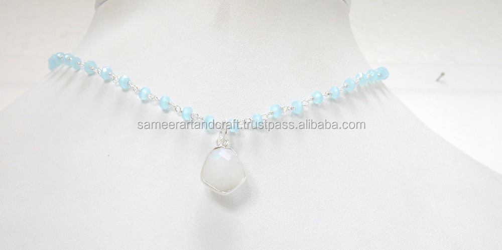 Natural Rainbow Moonstone Beaded Rosary With Bezel necklace set