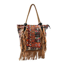 BANJARA WOMEN INDIAN VINTAGE BAG WITH LEATHER FRINGES SHOULDER BAG