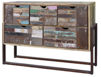 TIMBER METAL FRAME STORAGE CABINET , INDUSTRIAL RECYCLE WOOD STORAGE CABINET