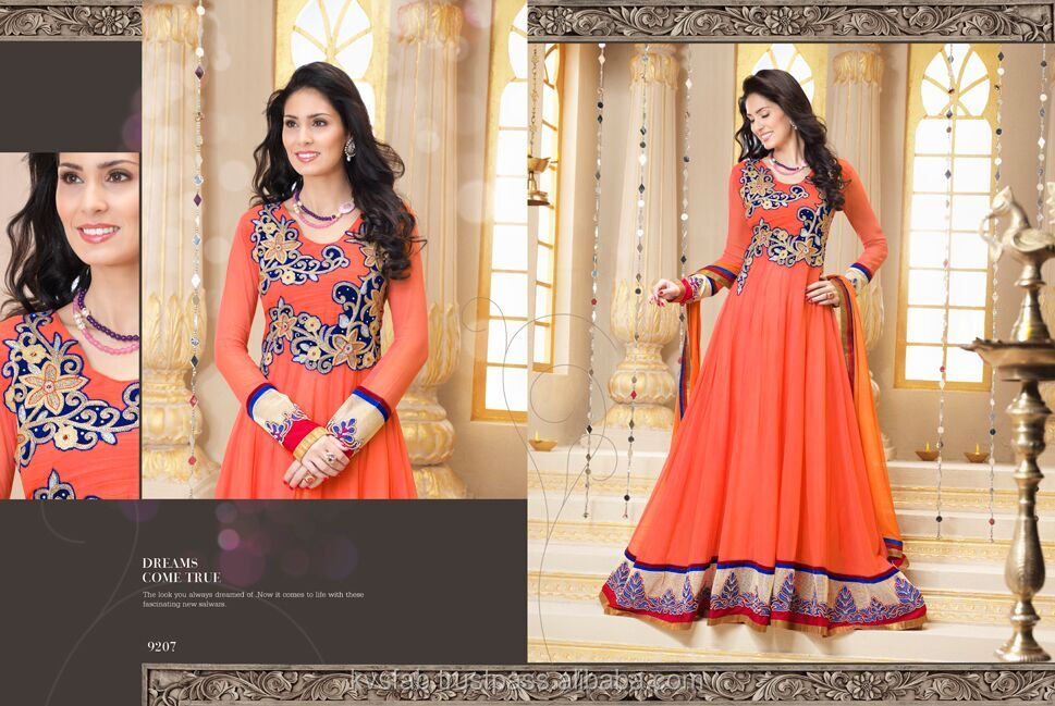 Peach Georgette Anarkali Suits