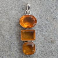 Yellow Quartz Silver gemstone pendant