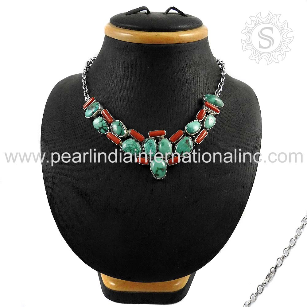 Magnificent Design Women Necklace Coral & Turquoise Gemstone Silver Jewelry Sterling Silver Jewelry Supplier