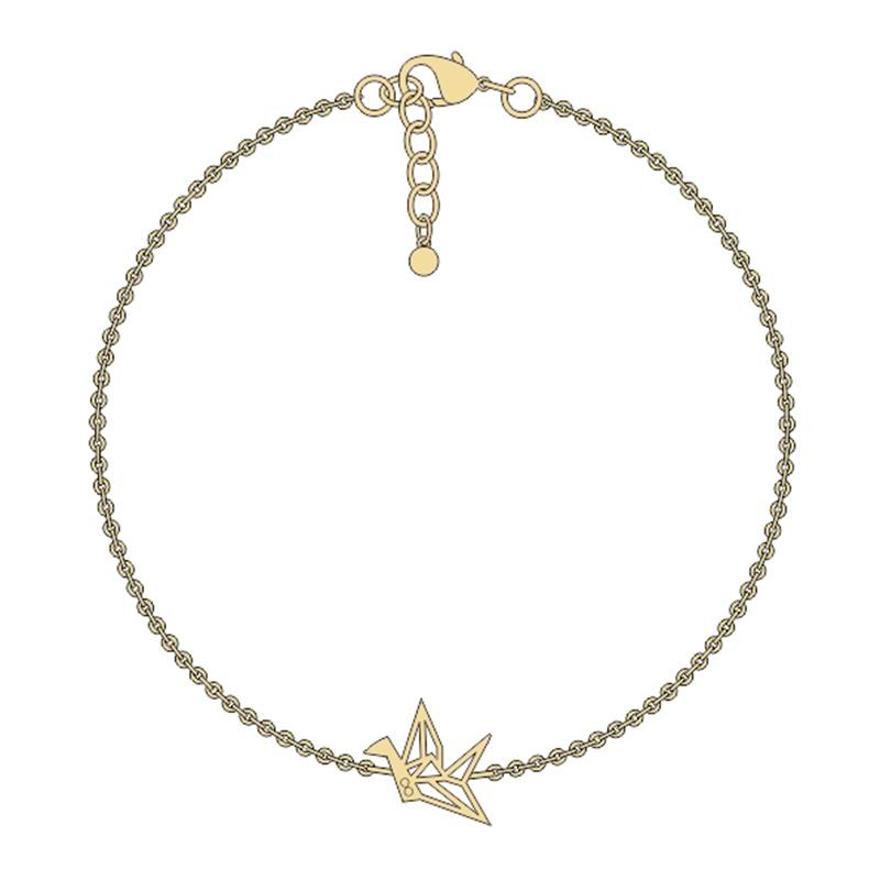 Handmade Paper Cranes Design Copper Thin Chain Bracelet For Women