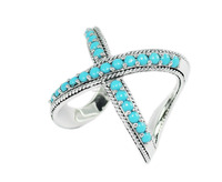 925 sterling silver turquoise cross ring