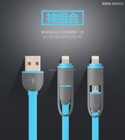 2016 wholesale Multi-function colorful flat 2 in 1 mobilephone usb data charging cable for android and phone 5/5s/6s/6p