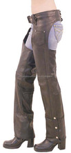 Unisex economically priced black leather chaps with nylon lining For Women