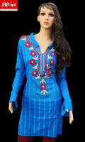 Royal Blue Dress tunic top women's fashion hippie retro kurta pattern 2015