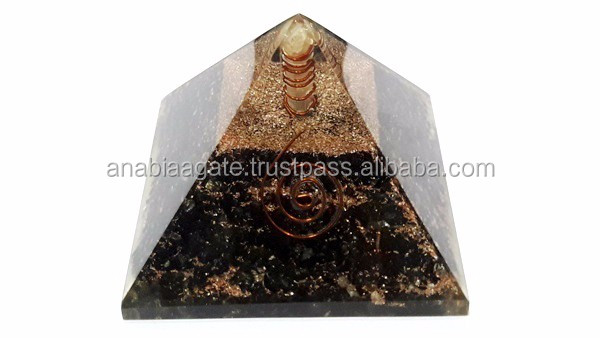 Black Agate Energy Generator with Crystal Quartz Ball : Gemstone Energy Generator Tool