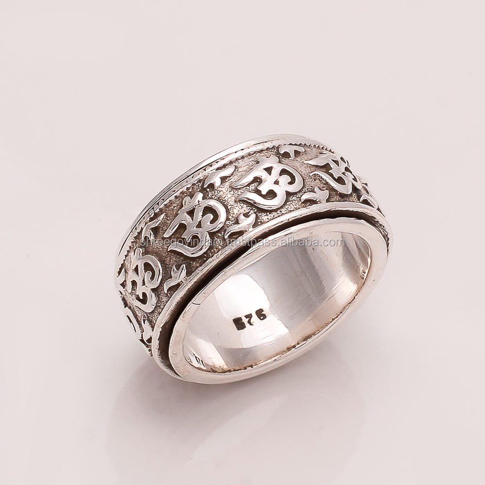 925 SOLID STERLING FINE SILVER Om ring