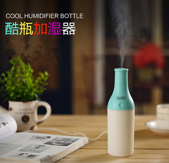 Cool Bottle 180ml USB Mini Humidifier Led Night Light Air Purifier Essential Oil Diffuser Aroma Mist Maker Home Car Humidifier
