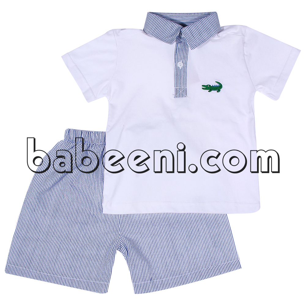 Alligator applique polo shirt set for boys