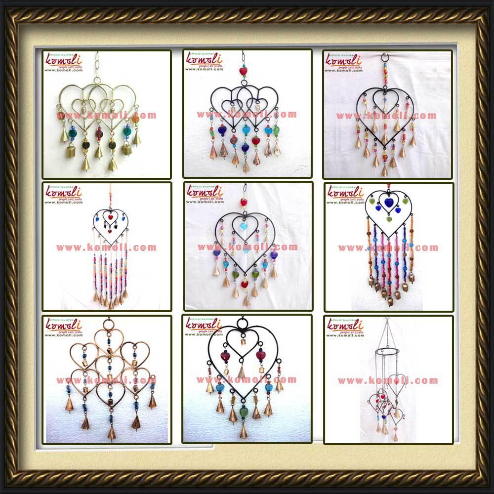 Metal heart ornaments - Red Heart Shaped Wind Chime Indian Chimes Outdoor Metal Heart Ornaments