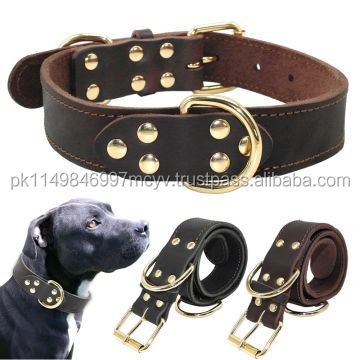 Genuine Leather Dog Pet Collars Well Made for Staff Bulldog