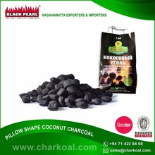 100% Usable Coconut Shell Made Pillow Shape Charcoal for Bulk Buyers