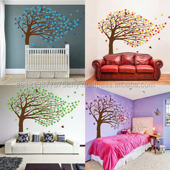 Vinyl Wall Decal Tree with Branches & Falling Leafs Nature Birds Art Decor Home Colourful Sticker Blowing Wind Mural