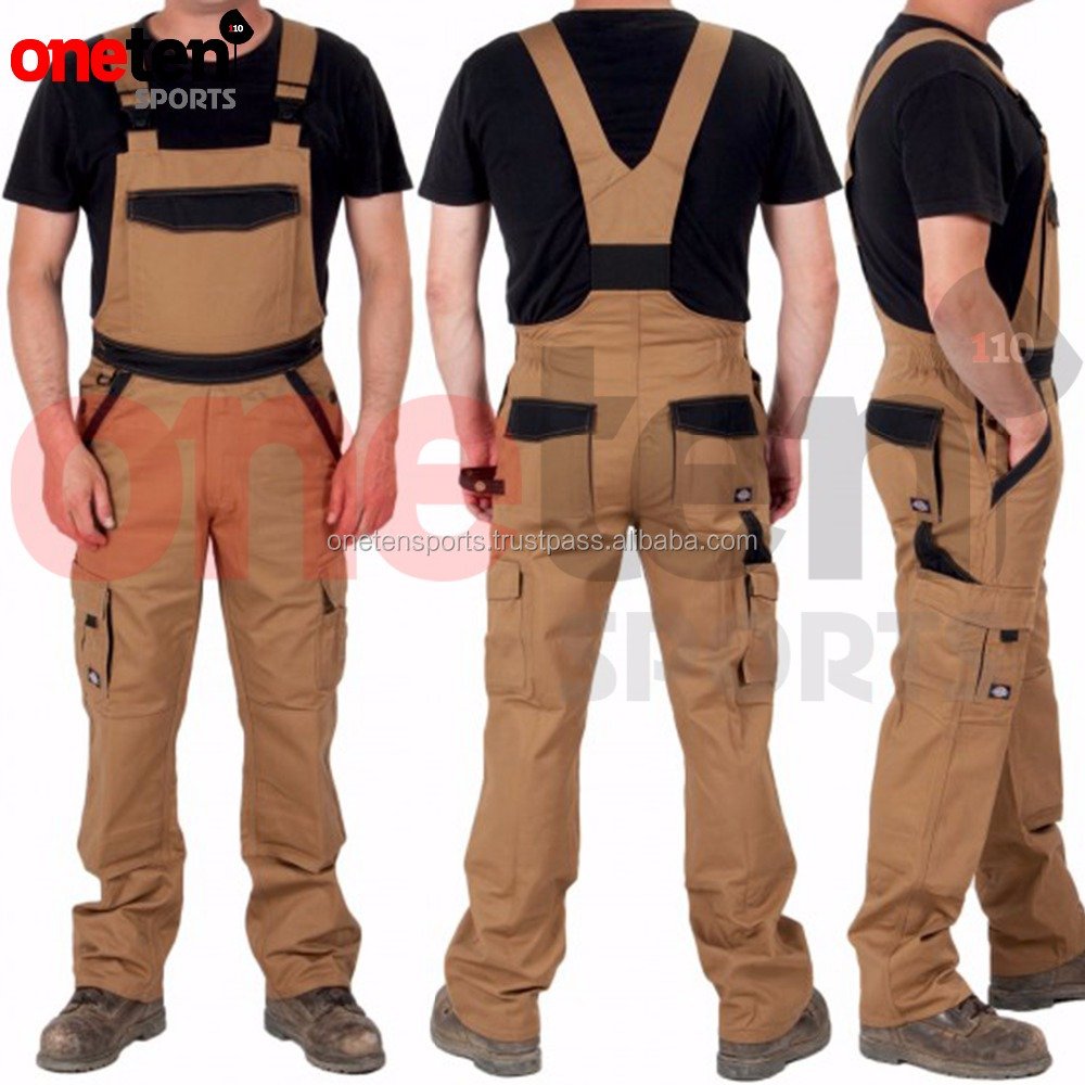 Modern Work Overalls For Men Cargo Pockets Dungarees 65% polyester, 35% cotton, 300gsm